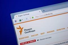 Ryazan Ryssland - Juni 26, 2018: Homepage av den Svoboda websiten på skärmen av PC:N URL - Svoboda org royaltyfria foton