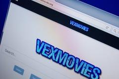 Ryazan Ryssland - Juni 26, 2018: Homepage av den VexMovies websiten på skärmen av PC:N URL - VexMovies org arkivfoton
