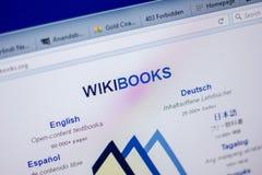 Ryazan Ryssland - Juni 05, 2018: Homepage av den WikiBooks websiten på skärmen av PC:N, url - WikiBooks org arkivfoton