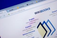 Ryazan Ryssland - Juni 05, 2018: Homepage av den WikiBooks websiten på skärmen av PC:N, url - WikiBooks org royaltyfria bilder