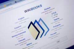 Ryazan Ryssland - Juni 05, 2018: Homepage av den WikiBooks websiten på skärmen av PC:N, url - WikiBooks org royaltyfri foto