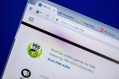 Ryazan Ryssland - Juni 05, 2018: Homepage av PBS-websiten på skärmen av PC:N, url - PBS org arkivbilder