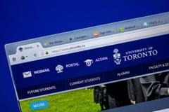 Ryazan Ryssland - Juni 05, 2018: Homepage av uTorontowebsiten på skärmen av PC:N, url - uToronto Ca arkivfoton