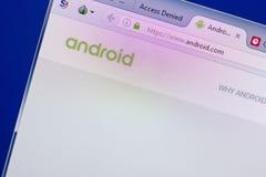 Ryazan Ryssland - Maj 13, 2018: Android website på skärmen av PC:N, url - Android com Royaltyfri Bild