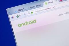 Ryazan Ryssland - Maj 13, 2018: Android website på skärmen av PC:N, url - Android com Arkivbilder