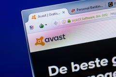 Ryazan Ryssland - Maj 08, 2018: Avast website på skärmen av PC:N, url - Avastcom arkivfoto