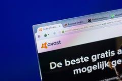 Ryazan Ryssland - Maj 08, 2018: Avast website på skärmen av PC:N, url - Avastcom arkivbild