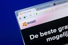 Ryazan Ryssland - Maj 08, 2018: Avast website på skärmen av PC:N, url - Avastcom royaltyfria bilder
