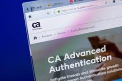 Ryazan Ryssland - Maj 20, 2018: Homepage av Ca-websiten på skärmen av PC:N, url - Ca com Royaltyfri Fotografi