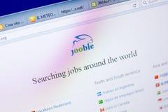 Ryazan Ryssland - Maj 27, 2018: Homepage av den Jooble websiten på skärmen av PC:N, url - Jooble org royaltyfria bilder