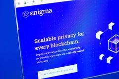 Ryazan Ryssland - mars 29, 2018 - Homepage av Enigma crypto valuta på skärmen av PC:N, rengöringsduk - mysterium Co royaltyfri bild