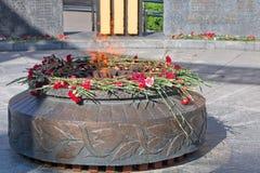 Ryazan Ryssland Monumentet till stupade soldater Eviga flammabrännskador På monumentet är röda nejlikor Royaltyfria Foton