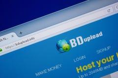 Ryazan Ryssland - September 09, 2018: Homepage av Bd laddar upp websiten på skärmen av PC:N, url - BdUpload info arkivbilder