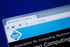 Ryazan Ryssland - September 09, 2018: Homepage av den Acm websiten på skärmen av PC:N, url - Acm org arkivbilder