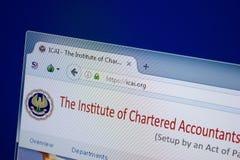 Ryazan Ryssland - September 09, 2018: Homepage av den Icai websiten på skärmen av PC:N, url - Icai org royaltyfria foton