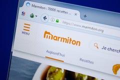 Ryazan Ryssland - September 09, 2018: Homepage av den Marmiton websiten på skärmen av PC:N, url - Marmiton org fotografering för bildbyråer