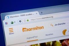 Ryazan Ryssland - September 09, 2018: Homepage av den Marmiton websiten på skärmen av PC:N, url - Marmiton org royaltyfri foto