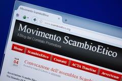 Ryazan Ryssland - September 09, 2018: Homepage av den Scambio Etico websiten på skärmen av PC:N, url - ScambioEtico org royaltyfri fotografi