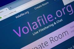 Ryazan Ryssland - September 09, 2018: Homepage av den Vola File websiten på skärmen av PC:N, url - VolaFile org royaltyfri foto