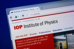 Ryazan Ryssland - September 09, 2018: Homepage av Iop-websiten på skärmen av PC:N, url - Iop org royaltyfria bilder