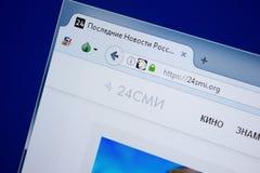 Ryazan Ryssland - September 09, 2018: Homepage av 24 Smi-website på skärmen av PC:N, url - 24Smi org royaltyfri fotografi