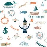 Ryba i dennego jedzenia bezszwowy wzór - ładny projekt ilustracja wektor