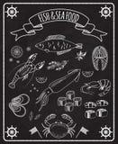 Ryba i owoce morza blackboard wektoru elementy Obraz Royalty Free