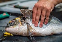 Ryba jest ciący otwarty Obrazy Stock