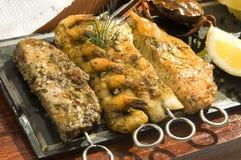 ryba piec na grillu mięso Zdjęcia Stock