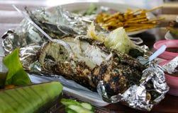 ryba piec na grillu sól Zdjęcie Royalty Free