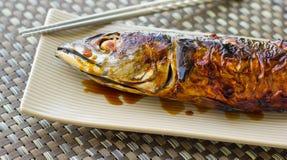 ryba piec na grillu saba Obraz Stock