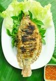 Ryba piec na grillu z solą w talerzu Obraz Stock