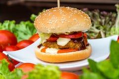 Ryba smażący hamburger Obrazy Royalty Free