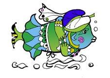 Ryba w kapeluszu, koloryt książka royalty ilustracja