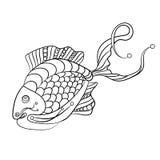 Ryba w kolorystyki stronie dla childrean i dorosłych w ornamentacyjnym grą Zdjęcia Royalty Free