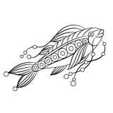 Ryba w kolorystyki stronie dla childrean i dorosłych w ornamentacyjnym grą Zdjęcie Stock