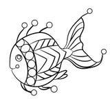 Ryba w kolorystyki stronie dla childrean i dorosłych w ornamentacyjnym grą Zdjęcia Stock