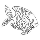Ryba w kolorystyki stronie dla childrean i dorosłych w ornamentacyjnym grą Fotografia Royalty Free