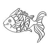 Ryba w kolorystyki stronie dla childrean i dorosłych w ornamentacyjnym grą Obrazy Royalty Free