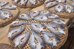 Ryba, wysuszona dalej Na bambusowym koszu Zdjęcia Stock