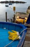 Rybacy łódkowaci przy Cinque Terre Zdjęcie Royalty Free