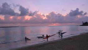 Rybacy iść dla pracy w ranku Obrazy Royalty Free