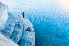 Rybacy Moskwa rzeką Obrazy Stock