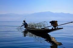 Rybacy w Inle jeziorze, Myanmar Fotografia Stock