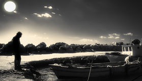 Rybacy w porcie Falaride Obrazy Stock
