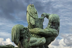 Rybaków titans sylwetki groszaka statua Zdjęcia Stock