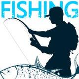 Rybak i ryba na haczyku ilustracji