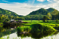 Rybak i rzeki góra z światłem słonecznym Obraz Royalty Free