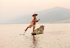Rybak, Inle jezioro, Myanmar Obrazy Stock