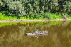 Rybak na Desna rzece Zdjęcie Stock
